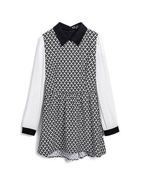 個性黑白幾何拼接雪紡袖洋裝