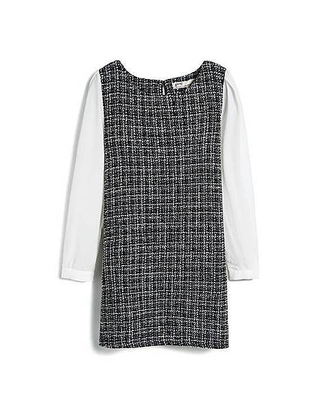 高雅黑白編織混金蔥拼接雪紡袖洋裝