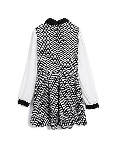 個性黑白幾何拼接雪紡袖洋裝02