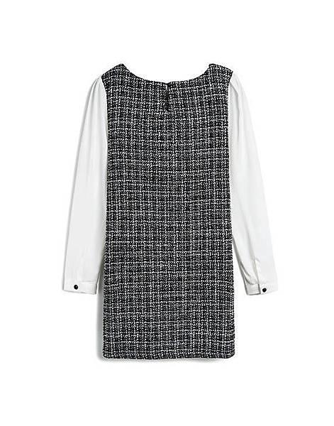 高雅黑白編織混金蔥拼接雪紡袖洋裝02