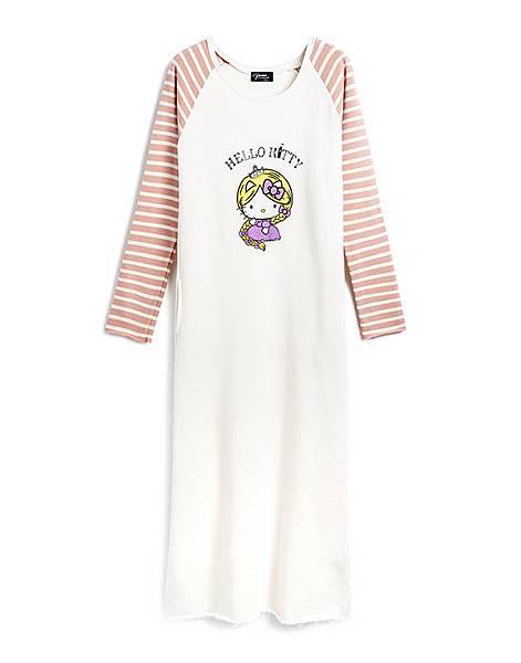 長髮公主KITTY拼條紋袖長版洋裝