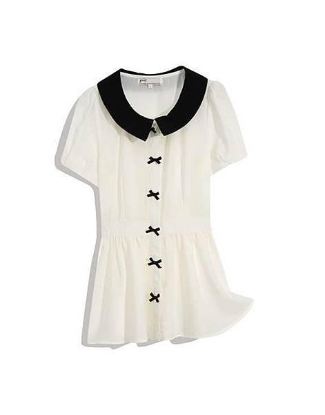 可愛蝴蝶結釦飾短袖上衣