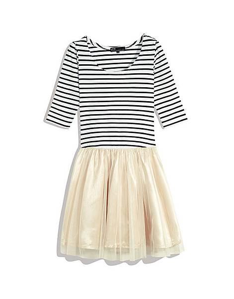 輕甜橫條上衣拼接紗裙洋裝