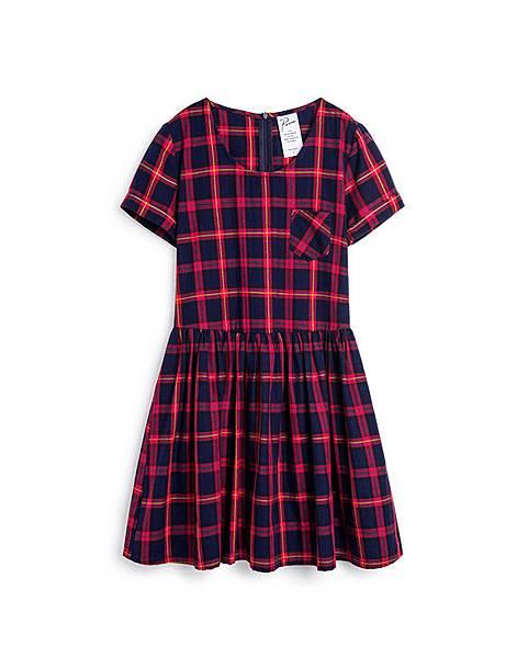 英倫學院藍紅格紋反摺洋裝