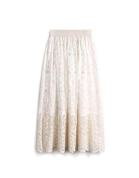 141031優雅美姬織花蕾絲鬆緊長裙