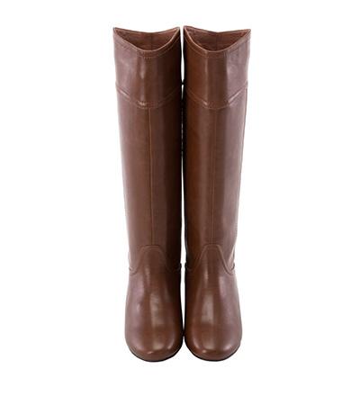 V口弧線素面內增高長靴2