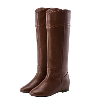 V口弧線素面內增高長靴