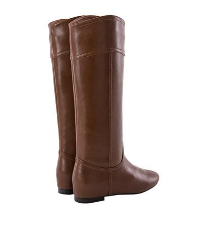 V口弧線素面內增高長靴3