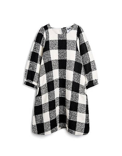 甜美氣質黑白格紋毛呢洋裝