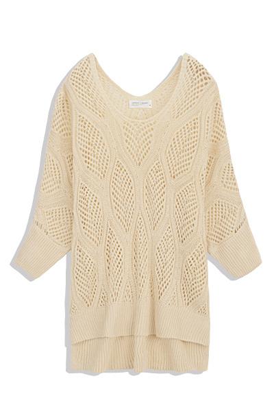MIT 雙V領葉形鏤空寬袖針織罩衫-女