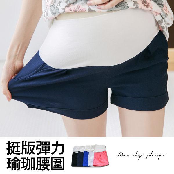 五色雙口袋彈力短褲瑜珈腰圍.jpg