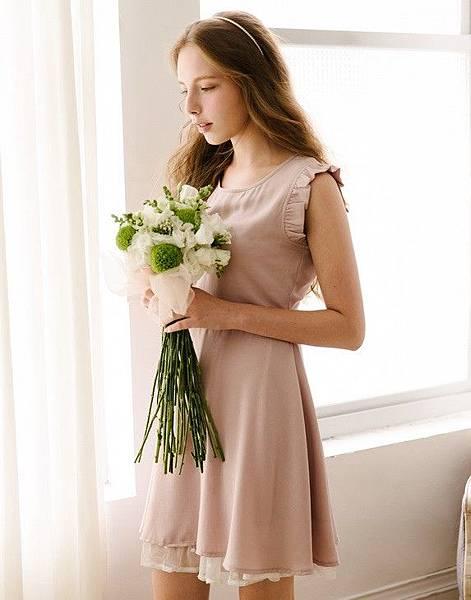 甜蜜荷葉袖雙層下擺洋裝299-2.jpg