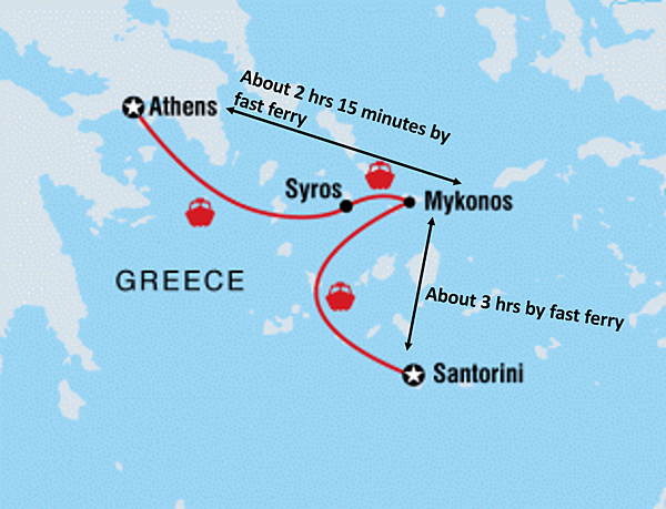 Sea Route from Athens to Santorini