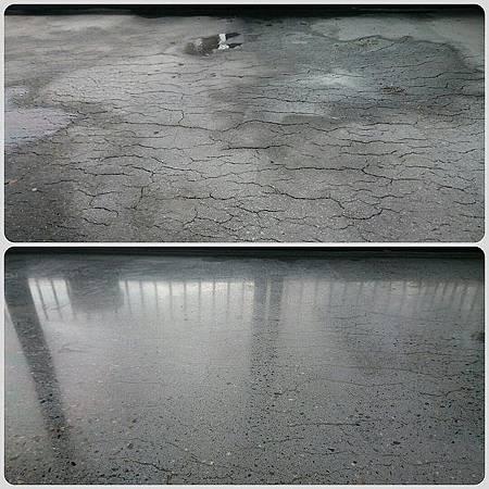 混凝土地板研磨拋光前後對照