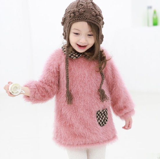 MINIBBONG 粉色毛茸茸洋裝01