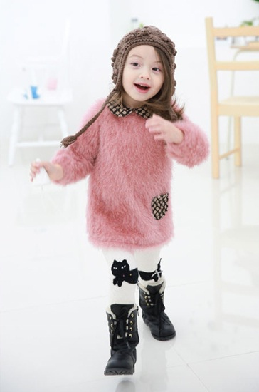 MINIBBONG 粉色毛茸茸洋裝02