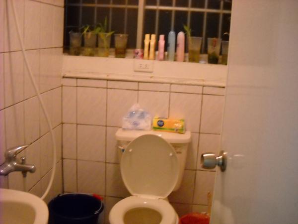 很簡陋的廁所,排水很差,洗澡十分克難,還要用水桶汲水…