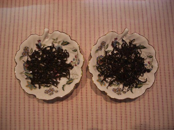 左─包種茶    右─自製茶葉
