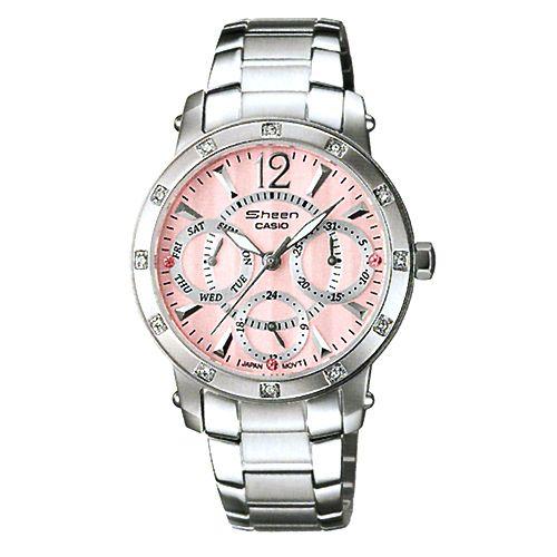 CASIO SHEEN系列個性三眼時尚指針錶(粉紅)