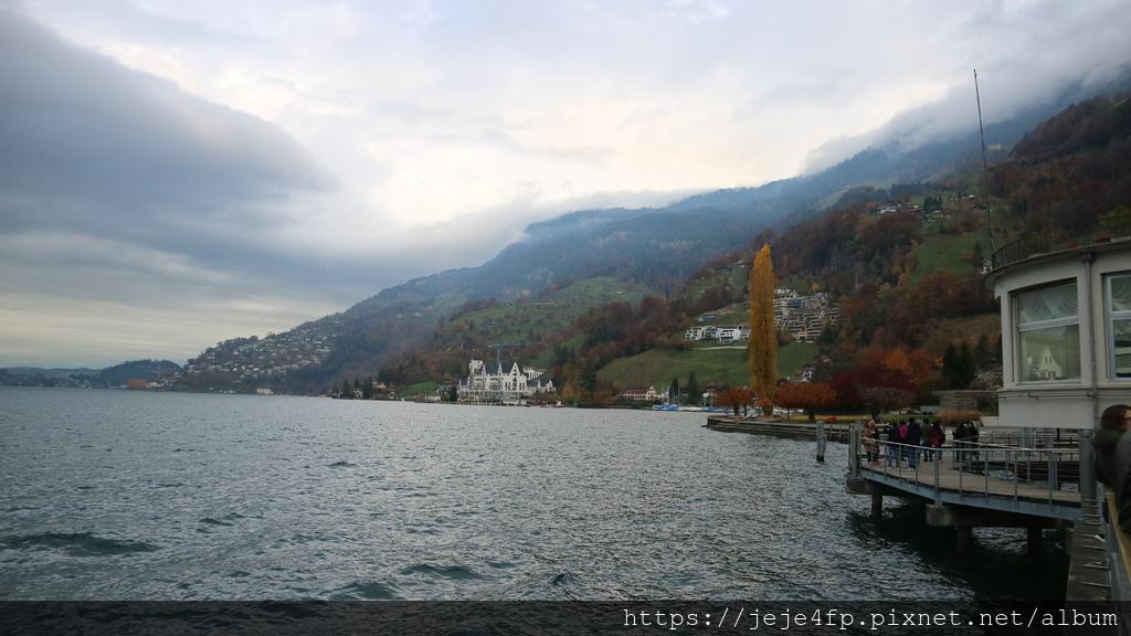 20181113 (58) 前往Rigi山途中 [中央偏左遠後方位於湖畔的是建於西元1900年的菲茨瑙公园酒店].JPG