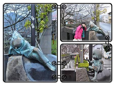 小小的橋上有著鬼太郎跟臭鼠男的雕像
