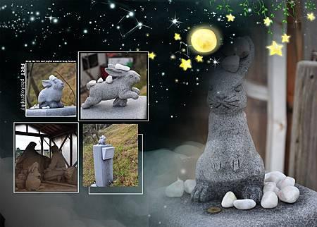 """參道兩旁有有各種姿勢的兔子雕像,並用上頭印有""""緣""""字的石頭供奉著"""