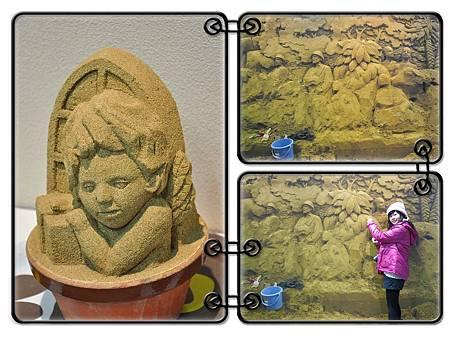 美術館內展示砂雕製作一半的照片
