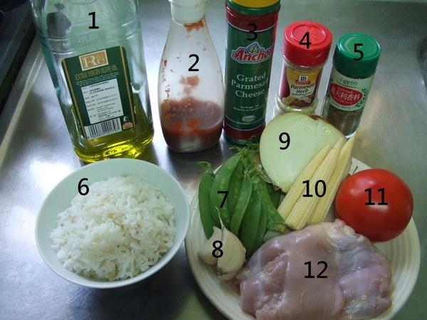 義式茄汁雞肉泡飯_材料(依序):橄欖油、番茄醬、帕馬森起司粉、帕馬森&羅曼起司香料、義大利綜合香料、飯、碗豆莢、蒜頭、洋蔥、玉米筍、牛番茄、去骨去皮雞腿肉