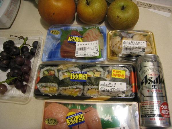 去高島屋超市買的晚餐及日本好友家的水果