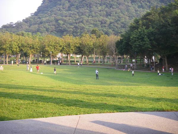 捷運出口旁的大草坪
