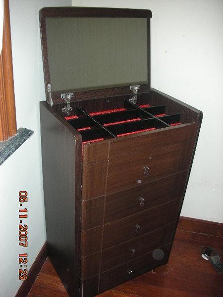 實木五斗櫃帶鏡子與首飾收納2