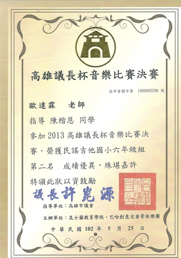 陳楷恩-2012議長盃決賽-國小六年級組-第二名