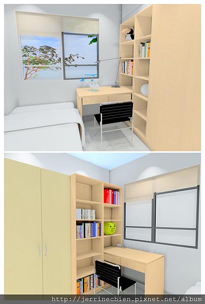 兩房隔間書櫃