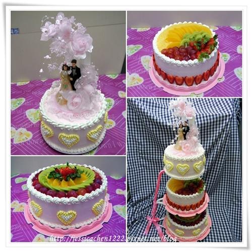 粉紅三層蛋糕之分層