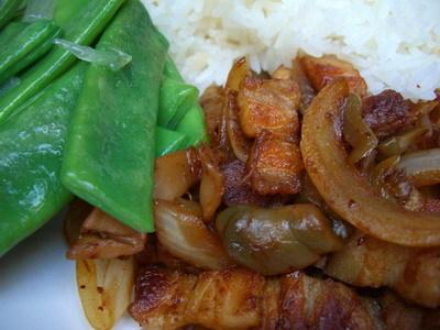 晚餐~榨菜炒豬肉+清燙豆豆~