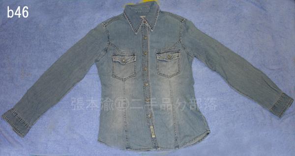 編號:71 穿起來酷 顏色復古的GLOBAL藍色牛仔長袖襯衫