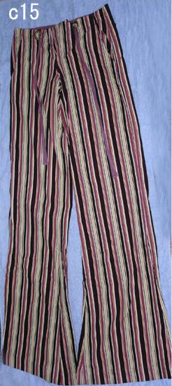編號:90 婆媳過招千百回戲服 紫色條紋喇叭褲(拉鍊需修理)