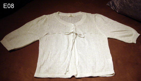 編號:104  歡喜親家來鬥陣戲服 白色銀蔥短版針織衫