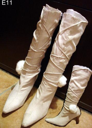 編號:107  婆媳過招 戲鞋 米色麂皮靴子