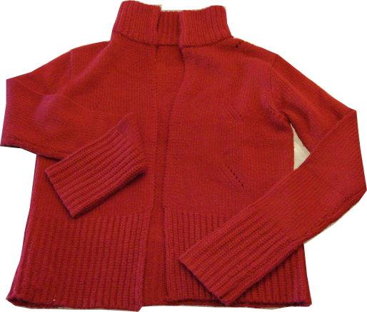 編號:142  紅色針織外套 用髮鉆當釦子 有創意又有型