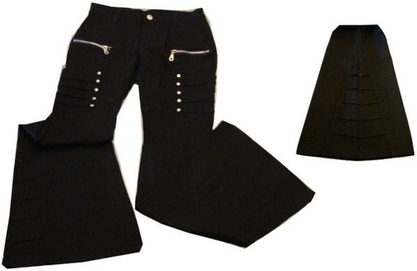 編號:144  酷炫合身喇叭褲 可修飾腿型 側邊的褶線是特色
