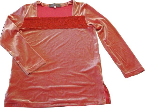 編號:147  OZOC桃紅色方領上衣 絲般光滑質料金色光澤
