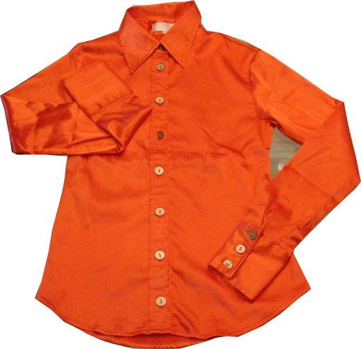 編號:164  亮橘色絲質復古襯衫 適合穿衣服大膽有造型的人