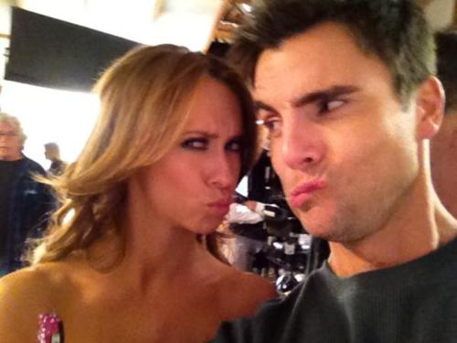 Colin Egglesfield with Jennifer Love Hewitt on set