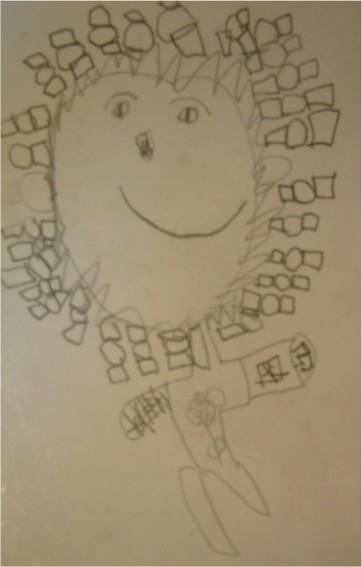 有長辮子在跳跳的小女生-繪畫-小班