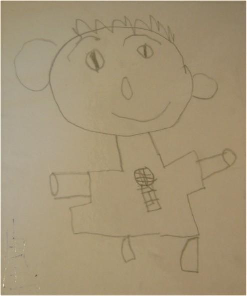 衣服上有唱歌的麥克風的小男生-繪畫-小班