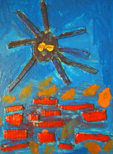 大海裡的大章魚-繪畫-小班