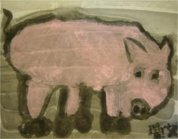 水墨粉紅豬-繪畫-中班