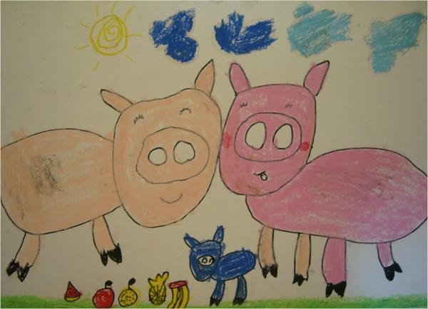 蠟筆粉紅豬-繪畫-中班