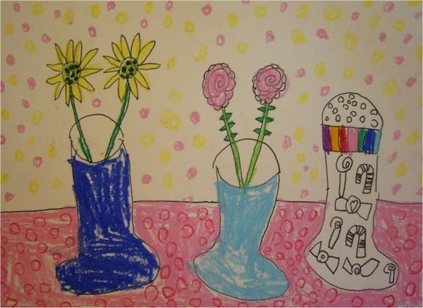 飄香花瓶-繪畫-中班